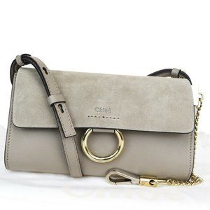 CHLOE Logo Faye Mini Shoulder Bag Suede Leather